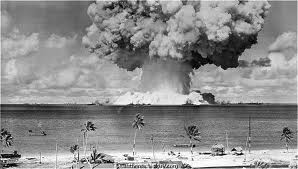 A nuclear explosion on Bikini Atoll in the Marshall Islands