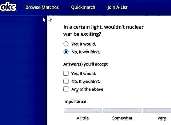 A screenshot of the OKCupid question about nuclear war.