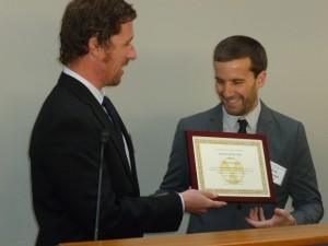 """Rick Wayman (right) receives the Alliance for Nuclear Accountability's 2016 """"Activist of the Year"""" award in Washington, DC."""