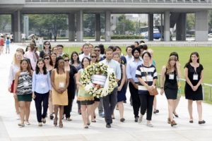 A group of 30 young people from 23 countries met in Hiroshima in August 2015 to work together for the abolition of nuclear weapons.