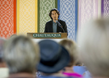 Paul K. Chappell speaking at the Chautauqua Institution in August 2016.