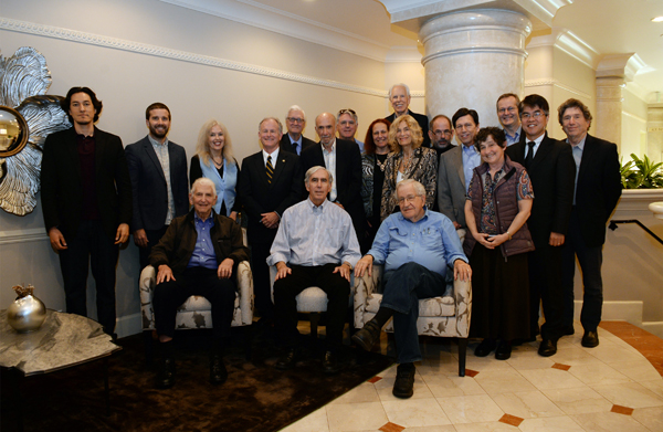 From L to R: Front Row: Daniel Ellsberg, David Krieger, Noam Chomsky. Second Row: Paul K. Chappell, Rick Wayman, Elaine Scarry, Steven Starr, Richard Falk, Jackie Cabasso, Jennifer Simons, Peter Kuznick, Judith Lipton, Kimiaki Kawai. Third Row: Robert Laney, Mark Hamilton, Daniel Smith, John Mecklin, Hans Kristensen, Rich Appelbaum.