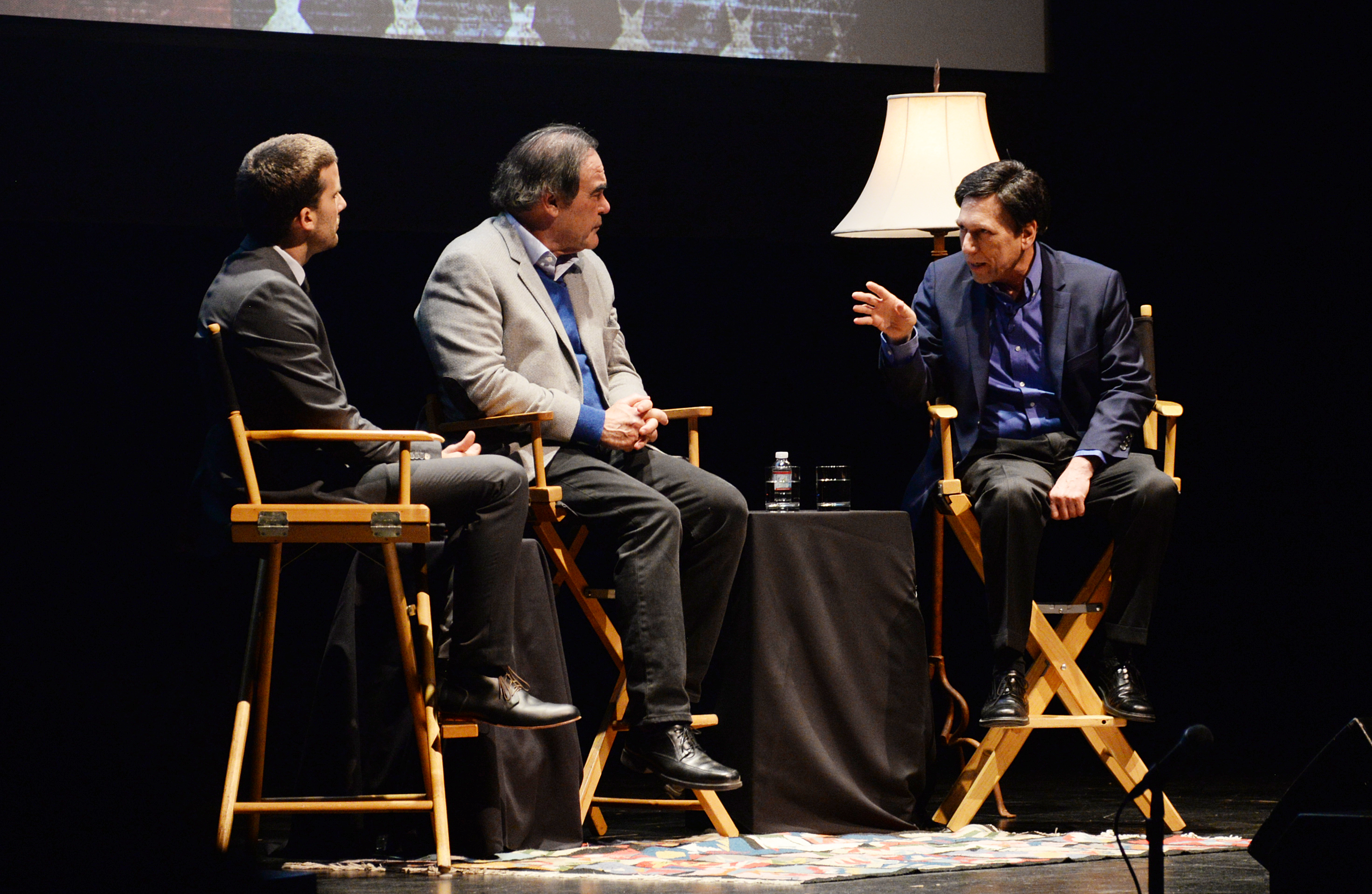 Peter Kuznick (right) delivered the Nuclear Age Peace Foundation's 16th Annual Frank K. Kelly Lecture on Humanity's Future on February 23, 2017, with Oliver Stone (center).