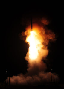 An unarmed Minuteman III intercontinental ballistic missile launches during an operational test at 12:03 a.m., PDT, April 26, from Vandenberg Air Force Base, Calif. (U.S. Air Force photo by Mark P. Mackey)